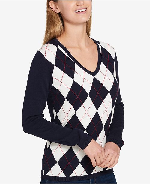 Tommy Hilfiger Argyle Sweater Created For Macys Sweaters Women