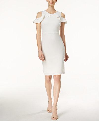Calvin Klein Ruffled Cold-Shoulder Dress