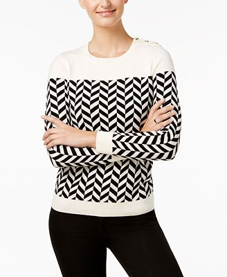 Charter Club Petite Herringbone Button-Detail Sweater, Created for Macy's