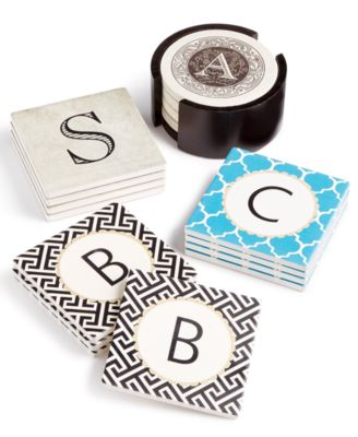 Vintage Monogram 4-Pc. Coaster Set