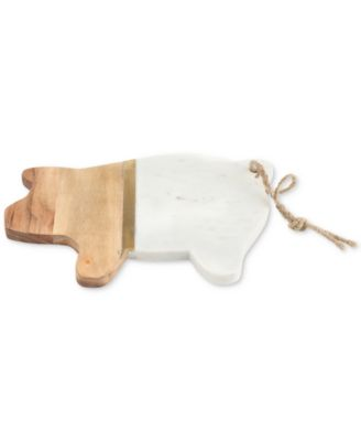 Pig Marble & Wood Serving Board