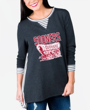 Women's Oklahoma Sooners Striped Panel Long Sleeve T-Shirt