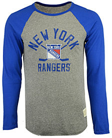 Retro Brand Men's New York Rangers Reggie Raglan Long Sleeve T-Shirt