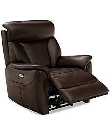 Brycin Leather Power Recliner with USB Power Outlet