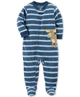 Carter's Striped Moose Footed Pajamas, Baby Boys