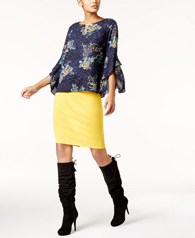 Thalia Sodi Keyhole Top & Scuba Pencil Skirt, Created for Macy's