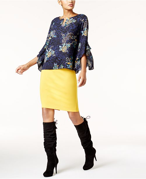 Thalia Sodi Keyhole Top & Scuba Pencil Skirt, Created for Macy's