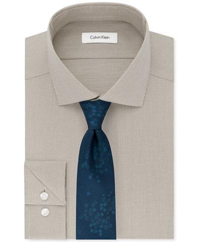 Calvin Klein Men's STEEL Unsolid Dress Shirt & Climbing Botanical Tie