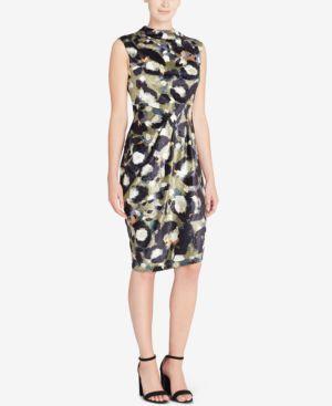 Embossed Printed-Velvet Sheath Dress, Cat Paint