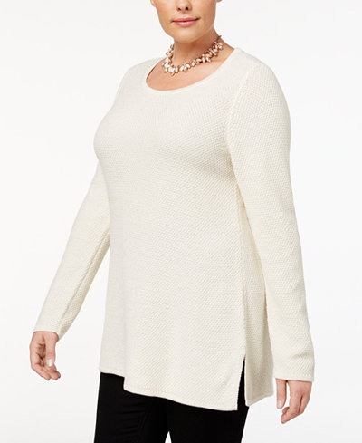 Charter Club Plus Size Scoop-Neck Tunic Sweater, Created for Macy's