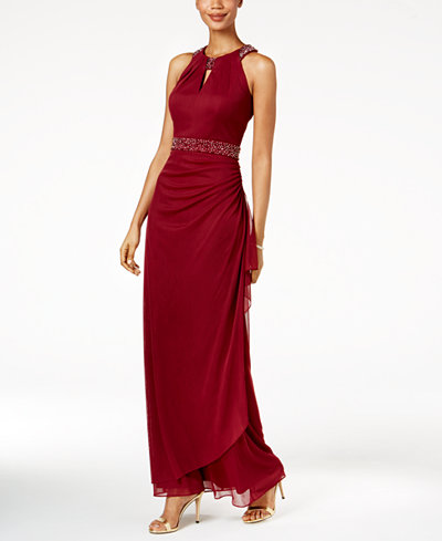 B & A By Betsy & Adam Embellished Halter Gown