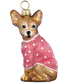 Joy to the World Chihuahua with Pink Coat Ornament