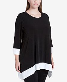 Calvin Klein Plus Size Colorblocked Handkerchief-Hem Tunic
