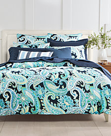 CLOSEOUT! Charter Club Damask Designs Multi Paisley Cotton 300-Thread Count 3-Pc. Full/Queen Duvet Cover Set, Created for Macy's