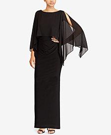 Lauren Ralph Lauren Crepe-Overlay Gown