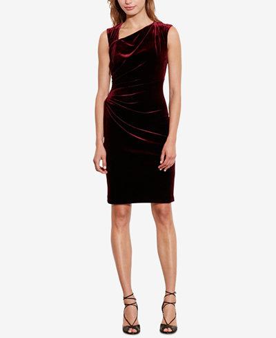 Lauren Ralph Stretch Velvet Sheath Dress Regular Pee Sizes Created For