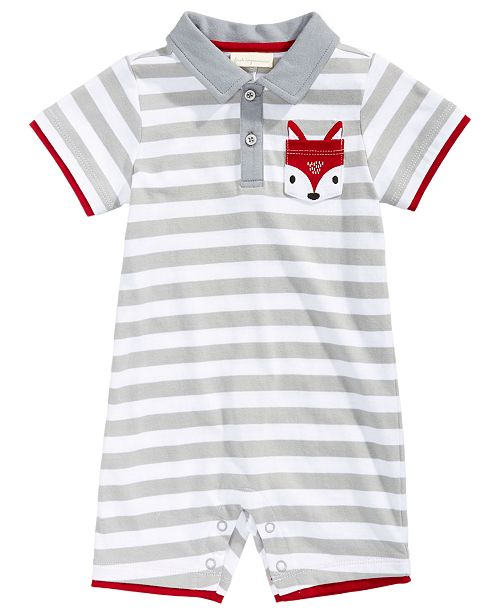 First Impressions Striped Fox-Pocket Cotton Romper, Baby Boys, Created for Macy's