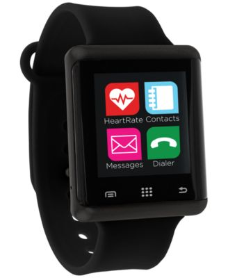 Unisex Pulse Black Silicone Strap Smart Watch 45mm, Created for Macy's