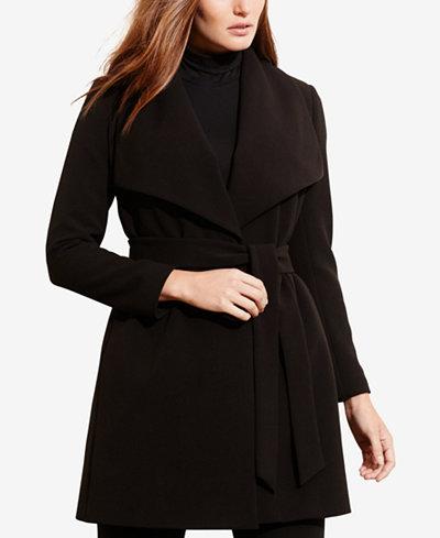 Lauren Ralph Lauren Plus Size Crepe Wrap Coat Coats