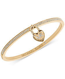 Michael Kors Pavé & Heart Lock Charm Bangle Bracelet