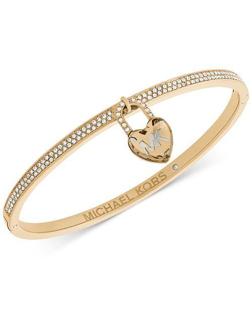 312ad3d14181a Michael Kors Pavé   Heart Lock Charm Bangle Bracelet   Reviews ...