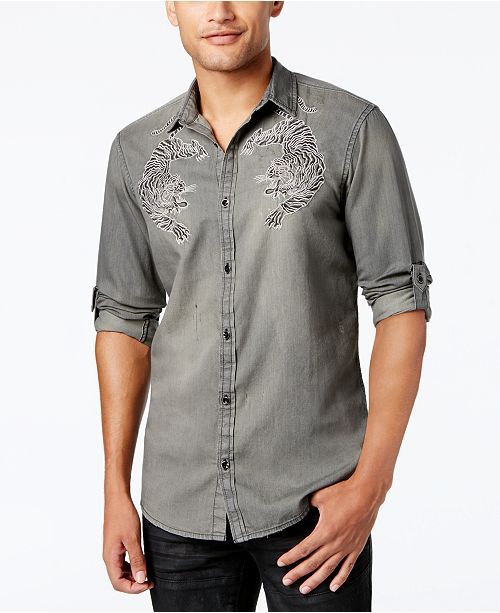 INC International Concepts I.N.C. Men's Embroidered Bengal Tiger Shirt, Created for Macy's