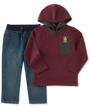 Kids Headquarters 2Pc Hooded Shirt  Jeans Set Toddler Boys (2T5T)