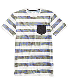 Univibe Men's Blue Camo Stripe Pocket T-Shirt