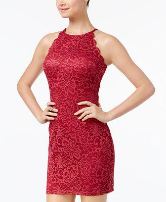BCX Juniors' Scalloped Glitter Lace Halter Dress