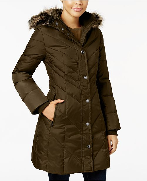 b519234d627 London Fog Faux-Fur-Trim Down Puffer Coat   Reviews - Coats ...