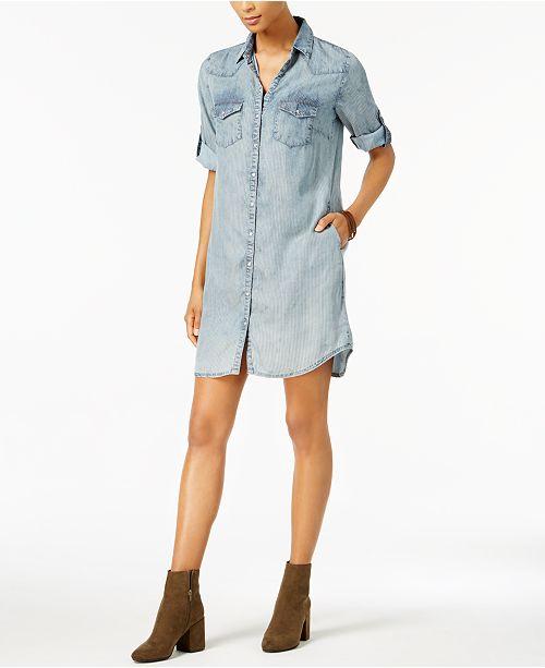 49aa3eff82 ... Kut from the Kloth Petite Ruthy Striped Chambray Denim Shirtdress ...
