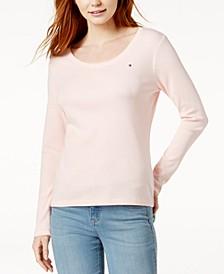 Cotton Long-Sleeve Flag T-Shirt