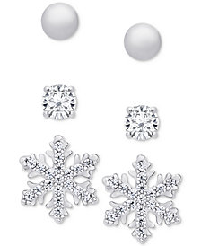 Stud Earrings 3-Pc. Set in Sterling Silver