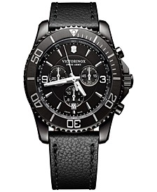 Men's Swiss Chronograph Maverick Black Leather Strap Watch 43mm