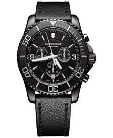 Victorinox Swiss Army Men's Swiss Chronograph Maverick Black Leather Strap Watch 43mm