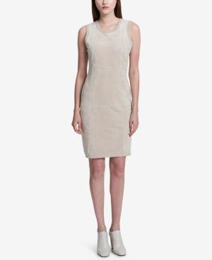 FAUX-SUEDE-FRONT SHEATH DRESS