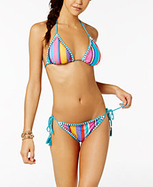 Nanette by Nanette Lepore Sayulita Serape Striped Triangle Bikini Top & Side-Tie Bottoms