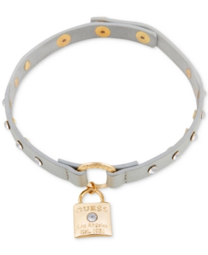 Guess  GOLD-TONE CRYSTAL LOCK PENDANT METALLIC SILVER FAUX LEATHER CHOKER NECKLACE