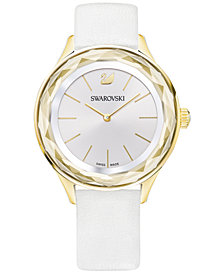 Swarovski Women's Swiss Octea Nova White Leather Strap Watch 36mm