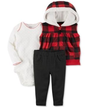 Carters 3Pc Hooded Vest Bodysuit  Leggings Set Baby Girls (024 months)