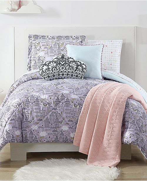 laura hart kids unicorn princess reversible 3 pc printed full queen comforter set bed in a. Black Bedroom Furniture Sets. Home Design Ideas