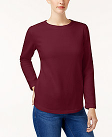 Karen Scott Solid Fleece Crew-Neck Sweatshirt, Created for Macy's