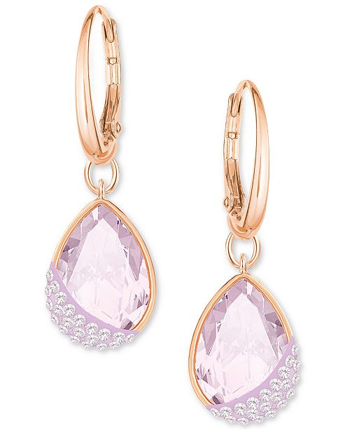 59d8b5fdcd63 Swarovski Rose Gold-Tone Pavé   Pink Crystal Drop Earrings ...