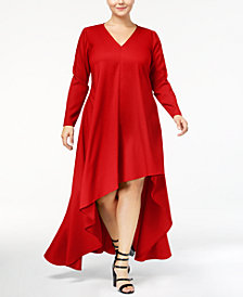 Monif C. Trendy Plus Size High-Low Crepe Dress