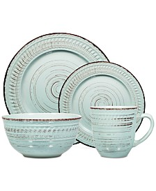 Home Essentials 16-Pc. Aqua Distressed Dinnerware Set