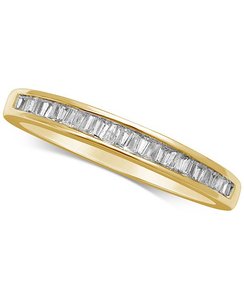 Macy's Diamond Baguette Gold Band (1/7 ct. t.w.) in 14k Gold, Rose Gold or White Gold