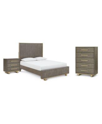 Petra Shagreen Bedroom Furniture, 3-Pc. Set (Queen Bed, Chest & Nightstand)