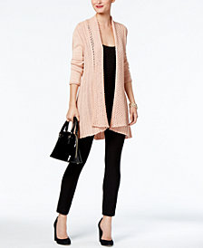 NY Collection Metallic Cardigan & ECI Pull-On Straight-Leg Pants
