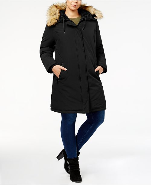 931cb506c138e Vince Camuto Plus Size Faux-Fur-Lined Hooded Puffer Coat   Reviews ...
