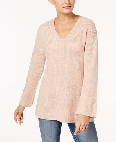 Calvin Klein V-Neck Flare-Sleeve Sweater, a Macy's Exclusive Style